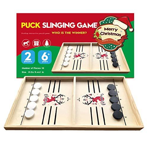 Roeam Fast Sling Puck Spiel, Hockey Brettspiel Interaktives Schachbrett für Kinder Teenager Erwachsene Indoor Outdoor Zwei-Spieler Gewinner Spiele
