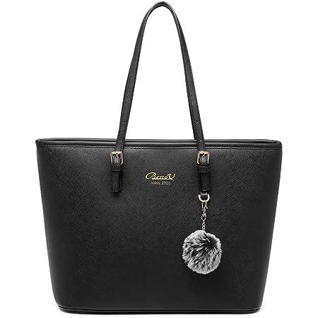 Handtasche Damen Schwarz Shopper Elegant Damen Groß Leder Handtasche Tasche für Büro Schule Einkauf mit Pelz Kugel Plüsch Schlüsselring (Verbesserte Version) (Schwarz)