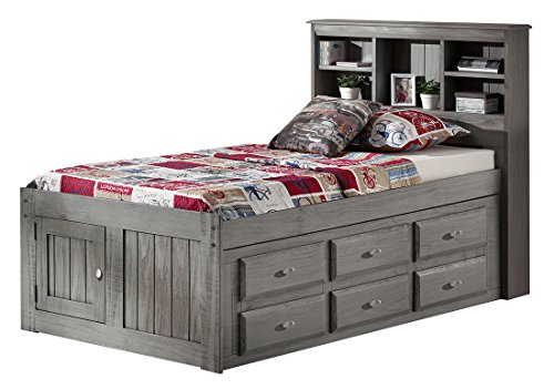 Discovery World Furniture Charcoal Twin Bookcase Captains Bed with 6 Drawer Storage on ONE Side
