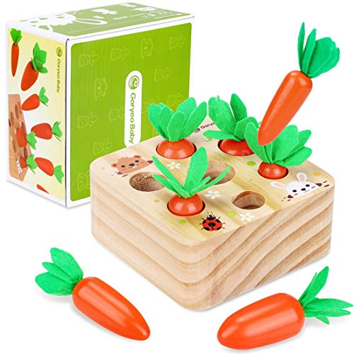 Japace Wooden Montessori Toys for Toddlers, Carrots Harvest Shape and Size Sorting Games Wooden Puzzle Block Preschool Educational Toys for 1 2 3 4 Year Old Boys and Girls