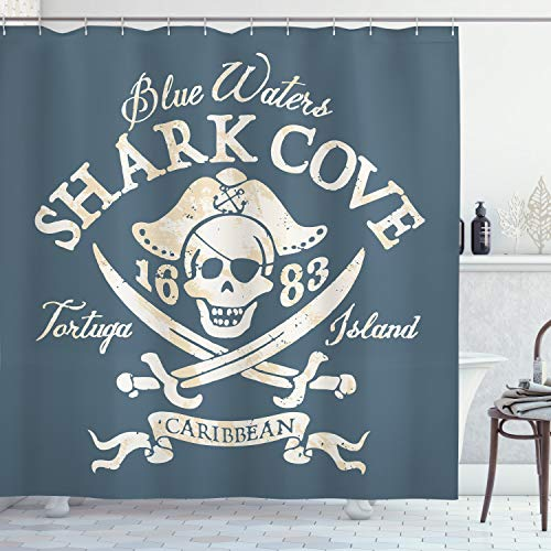 Ambesonne Pirate Shower Curtain by, Shark Cove Tortuga Island Caribbean Waters Retro Jolly Roger, Fabric Bathroom Decor Set with Hooks, 75 Inches Long, Slate Blue White Light Mustard