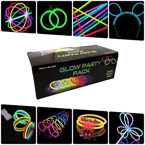 Pack fiesta Glow pulseras, collares, gafas, pulseras triples, orejas conejo, pendientes, flores, bola luminosa - 224 elementos