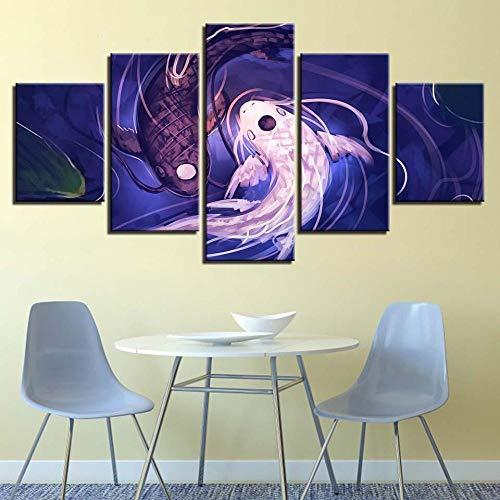BHJIO 5 Piezas Cuadro sobre Lienzo Imagen Fish Koi Yin Yang Awesome Revel Abstract Animal Impresión Pinturas Murales Decor Fotos para Salon Dormitorio Baño Comedor Regalo 80X150Cm