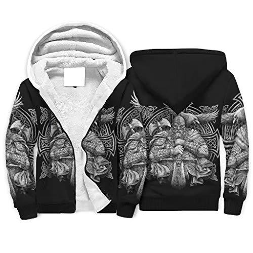 LL·Shawn Unisex Viking Odin Fleece Hoodie Vintage - Cordón Uniforme blanco 2xl
