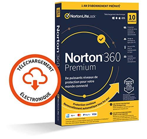 Norton 360 Premium 2021 | 10 Appareils | Antivirus, Sécurité Internet, Gestion Mots de Passe, Protection Webcam, Contrôle Parental, VPN, 75 GO Stockage Cloud | 1 An | PC/Mac/Android/iOS