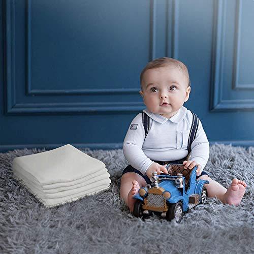 PICCOLE TENEREZZE Mullwindeln Spucktücher 6er Stoffwindeln 60X60 cm Mulltücher Saugstark Waschlappen Baumwolle Faltwindeln für Baby Weiß Kochfest