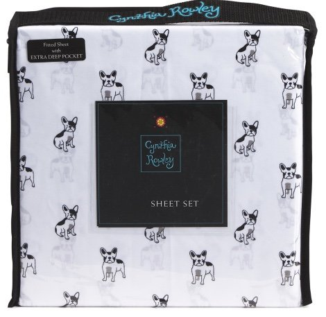 cynthia rowley French Bulldog FULL Size Sheet Set - microfiber