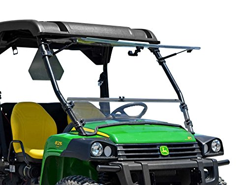 SuperATV Heavy Duty Scratch Resistant 3-in-1 Flip Windshield for John Deere Gator HPX / 620i / 825i / XUV 850 / XUV 855D / 625i (See Fitment for Years) - Can be Set to Open, Vented, or Closed!