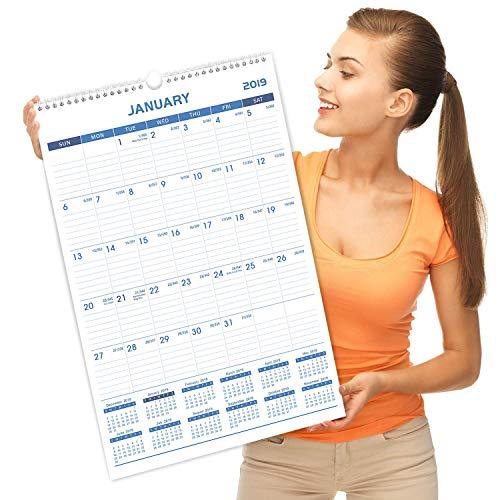 "2019 Monthly Wall Calendar - Calendar Planner 2019, 12"" x 17"", Wirebound"