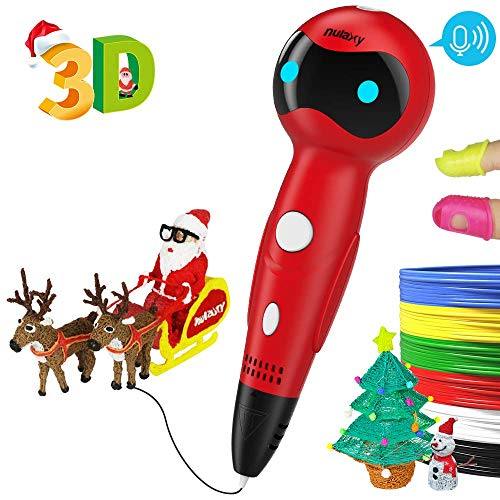 Nulaxy 3D Pen, First Robot 3D Drawing Printing Printer Pen with Voice Prompts PLA Filament Refills Automatic Feeding-Red EU