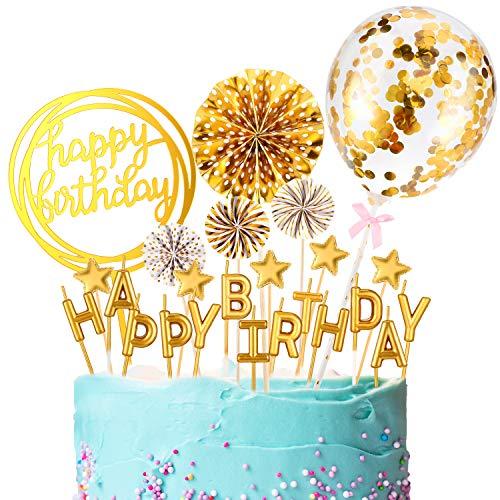 Juego de Topper de Tarta de Cumpleaños Dorado Topper de Magdalena de Happy Birthday Velas de Tartas de Letras Toppers de Globos con Confeti Estrellas y Abanicos 12 Adornos de Pastel de Cumpleaños