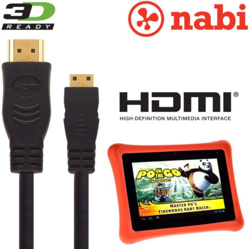 Bush Eluma B1 10.1 Inch Windows Tablet PC HDMI Mini naar HDMI TV 3m Kabel verbindt de Bush Tablet met elke tv met een HDMI-poort. Speel films, games en apps op uw televisie en verbind de Nabi-tablet-pc met elke tv met een HDMI-poort.