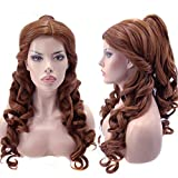 Anogol Hair Cap+Women Ponytail Wigs Curly Auburn Brown Cosplay Wig for Halloween