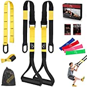 JDDZ Bodyweight Resistance Training Straps, Complete Workout Straps Fitness Trainer kit Included Door Anchor, Extension Strap, 16 Week Program, Fitness Guide, 4 Exercise Loop Bands (03-Yellow)