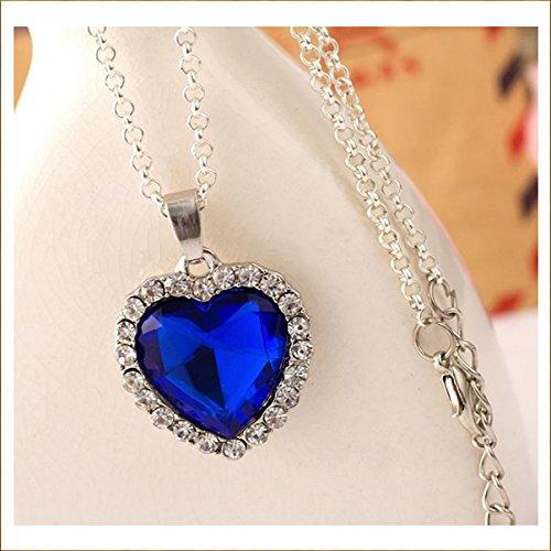5starwarehouse Titanik-Halskette, Herz des Ozeans, mit blauem Kristall in Herzform auf weißem Kristall, versilbert, Mini