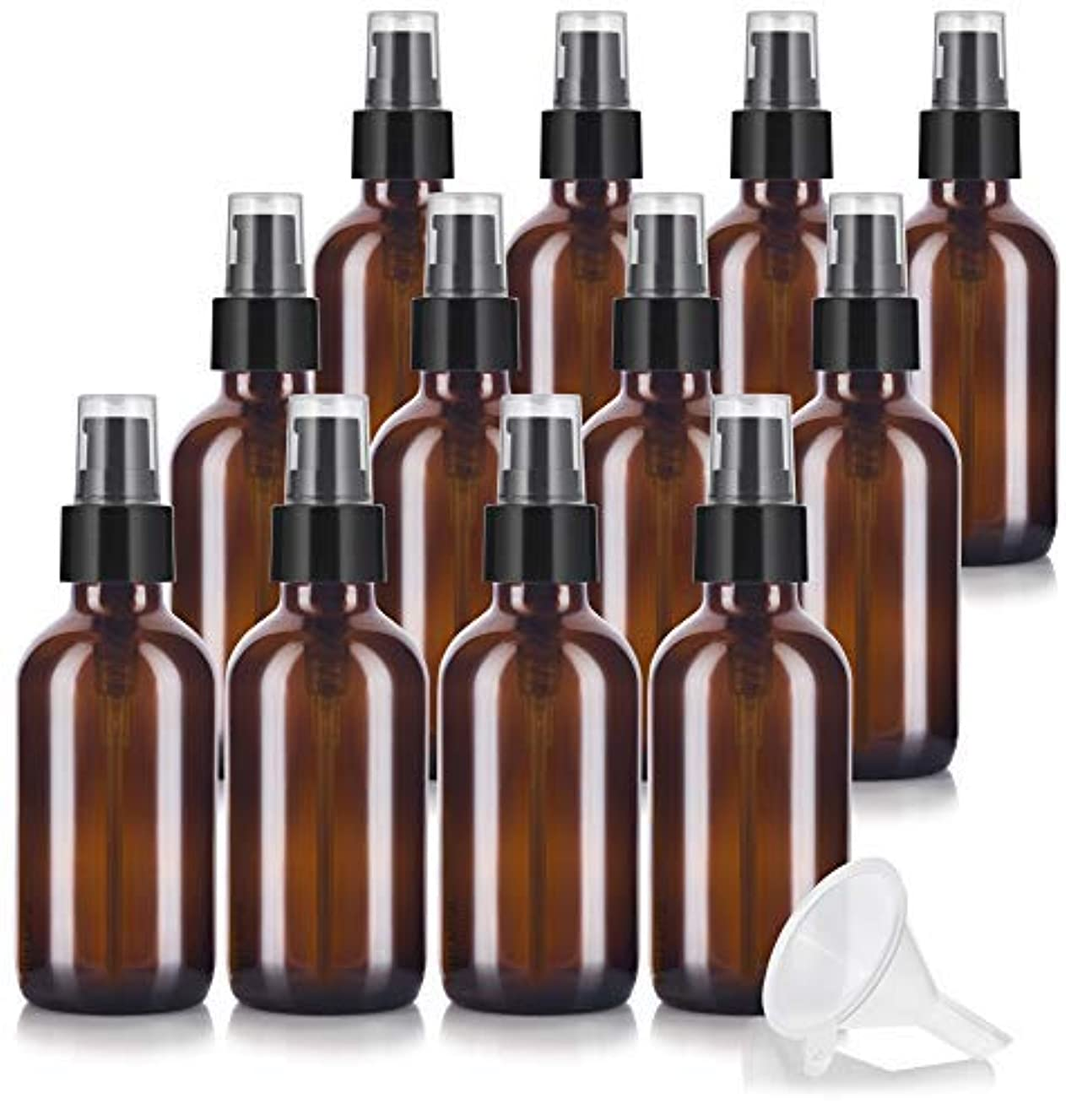 天皇輸送面倒4 oz Amber Glass Boston Round Treatment Pump Bottle (12 pack) + Funnel and Labels for essential oils, aromatherapy,food grade, bpa free [並行輸入品]