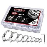 Adjustable Adjustable 8-44mm Range Worm Gear stainless hose clamp Assortment Kit 100pcs,One...