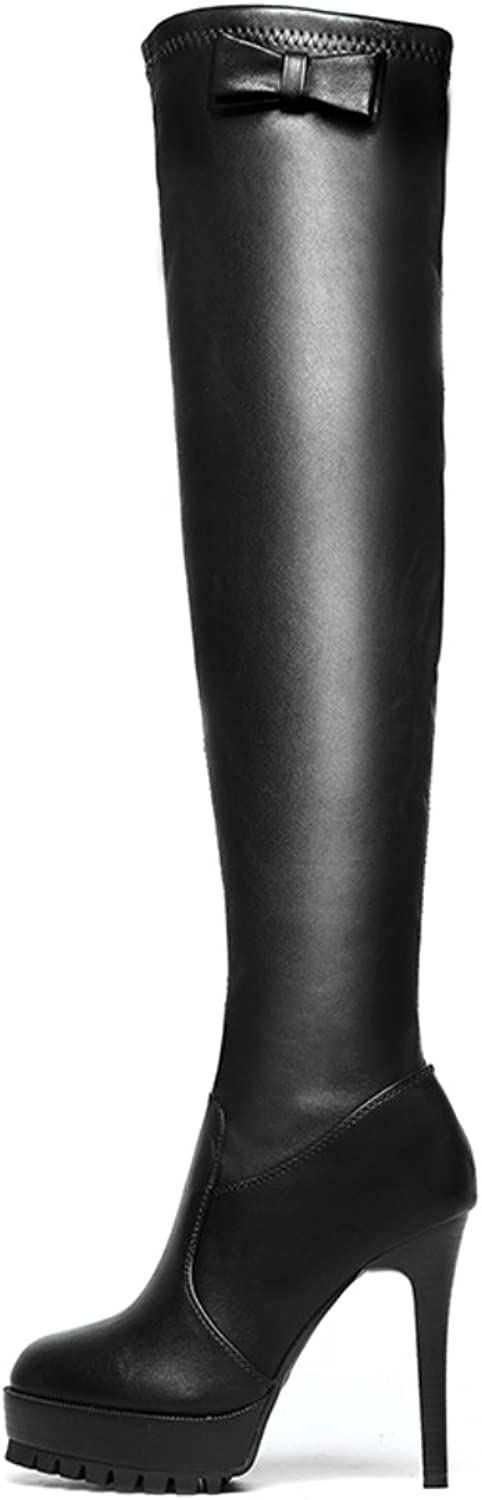 Lusam feeling Women's Sexy Winter PU Leather Stiletto Heels Knee High Platform Boots