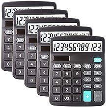 $20 » 5 Pack Calculators Large Display for Desk, Solar Calculator, Basic 12 Digit Big Button Office Calculator(Black)(AA Battery...