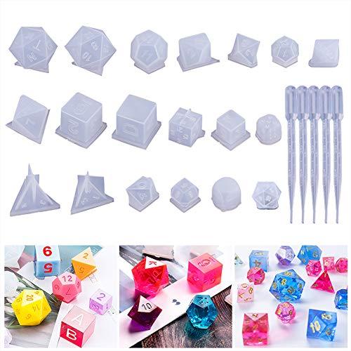 Calistouk 19 Estilos Moldes de fundición de Resina de Silicona Moldes de Dados de Juegos poliédricos 3D para Cartas Digitales epoxi para Juegos de Mesa DIY