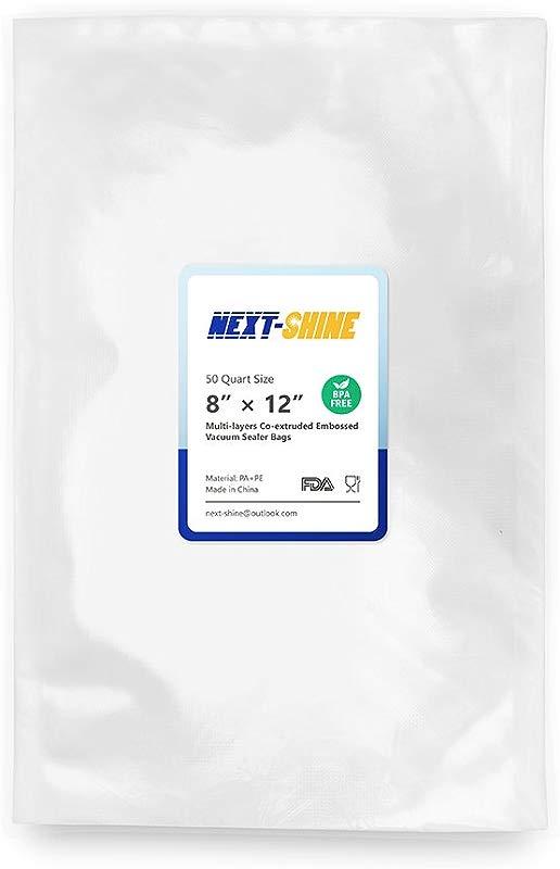 NEXT SHINE Vacuum Sealer Bags Compatible 50 PCS Quart Size Storage Food Saver Bags BPA Free Commercial Grade For Sous Vide