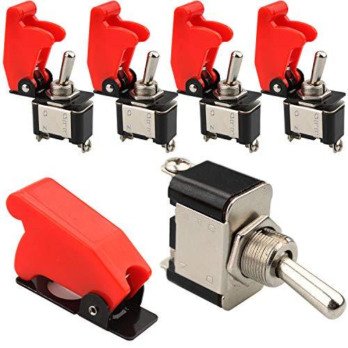 VISSQH 5pcs interruptor 12v,interruptor basculante 12v,20A 12VDC interruptor palanca, con Tapa Impermeable, ON/Off 2 Posiciones 2 Pin, para Auto Vehiculo Barco(rojo)