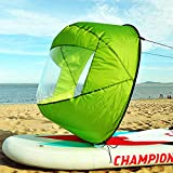 Idefair Kajak Windsegel,Kanu Segel vor dem Wind Faltbares Paddel Instant Sail Kit Ruderbootsegel mit klarem Fenster Kajakkanu Zubehör für Kajakrohr Schlauchboote