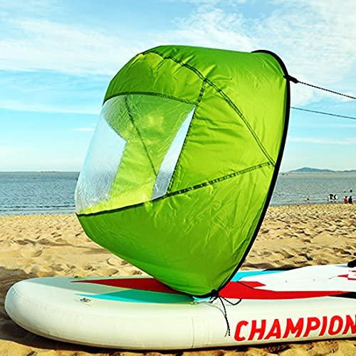 Idefair Vela sottovento,Kayak Vela a Vento Canoa Vele sottovento Pagaia Pieghevole Kit Vela istantanea Barca a Remi Vela con Finestra Trasparente Kayak Canoa Accessori per canne (Verde)