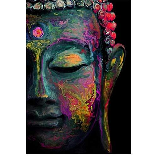 YangMENGDAN druk op canvas Boeddha muur canvas foto's posters en prints Moderne kleurrijke kop van Boeddha schilderij op de muur kunst canvas bedrukt Home Decor 50x70cmx1pcsKein Rahmen 1