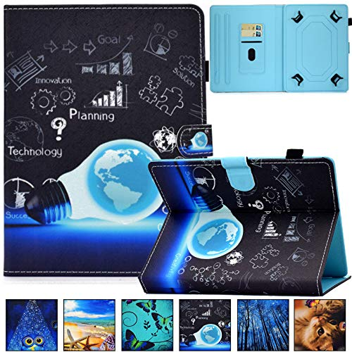 Universal Case for 9.0-10.5 inch Tablet,Artyond PU Leather Card Slot Folio Stand Case for Apple/Samsung/Kindle/Huawei/Lenovo/Android/Dragon Touch 9.7 9.6 10.1 10.5 Inch Tablet (Blue Bulb)