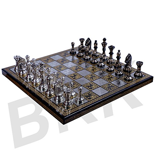Chess Set Board Messing handgefertigt Premium Qualität Chess Set Antik Design Schwarz Remasuri