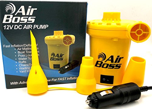 AIR BOSS 12V DC Air Pump for Inflatables, 1,000 Liters (264 Gallons) of Air Per Minute, Inflates 3-4 Times Faster Than Similar Looking Pumps, Mattress, Boat, Raft, Pool Floats, Airbed