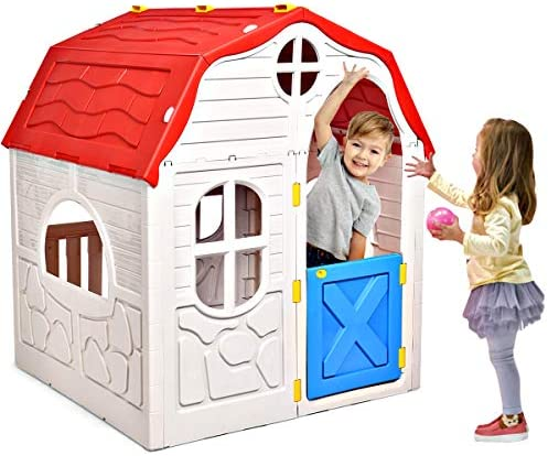 HONEY JOY Kids Outdoor Playhouse Cottage Foldable Playhouse with Working Doors Windows Indoor product image