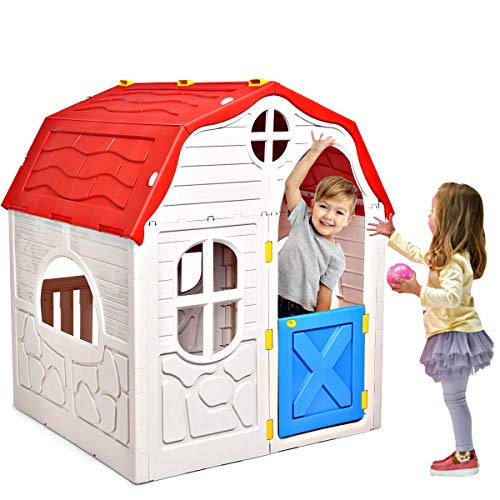 HONEY JOY Kids Outdoor Playhouse, Cottage Foldable Playhouse with Working Doors & Windows, Indoor Outdoor Plastic Cabin Play House Imagination Toy for Toddler Boys Girls
