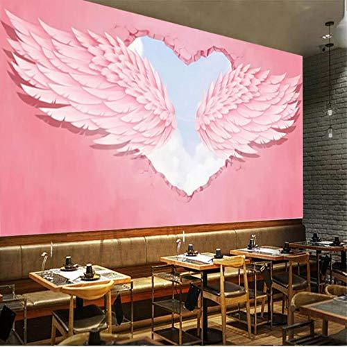 Mmneb 3D Pink Heart Engelsflügel Industriedekor Fototapete Hot Online Suche Red Cafe Dessert Shop Wallpaper 3D-450X300Cm
