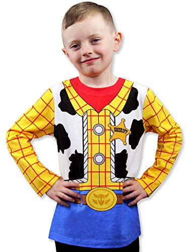 Toy Story 4 Sheriff Woody Boys Girls Baby Toddler Long Sleeve T-Shirt Tee (7, Blue/Yellow)