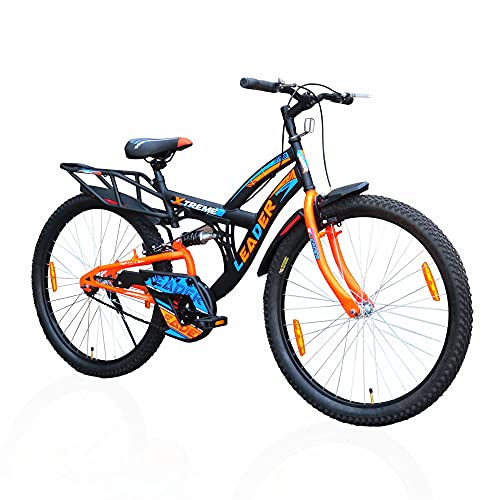 Leader Xtreme MTB 26T IBC Mountain Bicycle/Bike Without Gear Single Speed with Rear Suspension for Men - Black/Fluro Orange Ideal for 10+ Years…