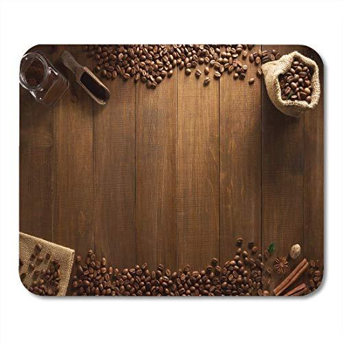 Semtomn Mouse Pad Brown Wood Kaffeebohnen auf Holz Stehtisch Wand Mousepad für Notebooks, Desktop-Computer Mausmatten, Büromaterial