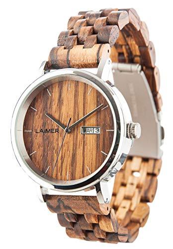 LAiMER Herren-Armbanduhr ROBERTO Mod. 0064 aus Zebranoholz - Analoge Automatikuhr mit Edelstahlgehäuse und Armband aus Holz - 21 Jewels