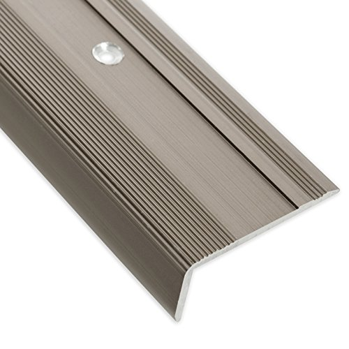 Treppenkantenprofil Glory | bronze dunkel | L-Form | inklusive rutschhemmender Vinyl-Einlage | 17mm Höhe | Erhältlich in 4 Farben und 3 Längen (90cm)
