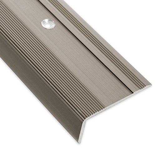 Treppenkantenprofil Glory | bronze dunkel | L-Form | inklusive rutschhemmender Vinyl-Einlage | 17mm Höhe | Erhältlich in 4 Farben und 3 Längen (134cm)
