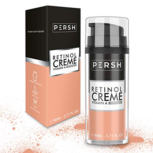 Hochdosierte Retinol Creme 80ml mit 4% Vitamin A und Panthenol - Anti-Aging – Reduktion von Falten & Altersflecken für Männer und Frauen - Gesichtscreme von PERSH – Made in Germany