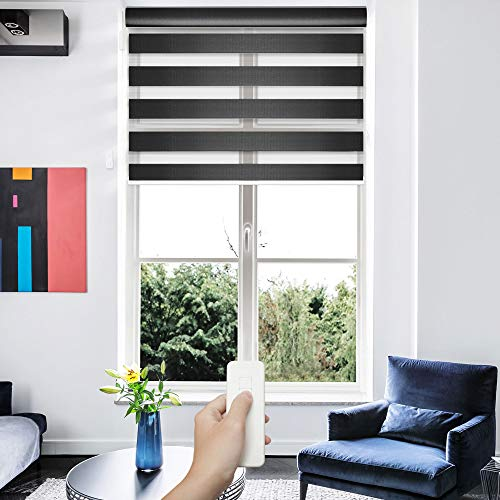 GoDear Design Deluxe Motorized Zebra Roller Shade with Cassette Valance, Battery Operated and Remote Controlled, 35' x 72', Charcoal
