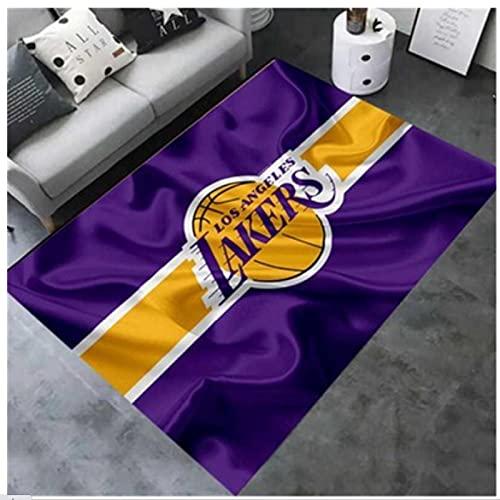 ZZXC Alfombra Rectangular Dormitorio Estera De Cabecera Sala De Estar Estudio Lakers NBA Equipo De Baloncesto Estera De Personalidad Moderno Minimalista Piso Alfombra Salvaje