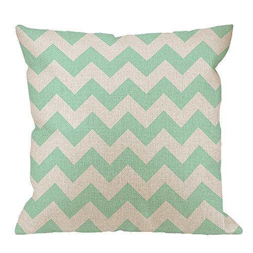 HGOD DESIGNS Throw Pillow Case New Chevron Mint Green & White Cotton Linen Square Cushion Cover Standard Pillowcase for Men Women Home Decorative Sofa Armchair Bedroom Livingroom 18 x 18 inch