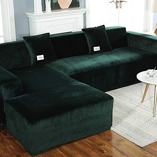XUELIAIKEE Plüsch L-Form Sofaüberdurf,Velvet Stretch Sofa Überwurf Für Hunde L-Form Schnitt Couch Sofabezug Schmutzabweisend Sofaschoner Couchbezug-dunkelgrün 3seaters190~230cm(75-91inch)