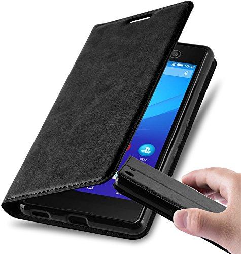 Cadorabo Hülle für Sony Xperia M5 in Nacht SCHWARZ - Handyhülle mit Magnetverschluss, Standfunktion & Kartenfach - Hülle Cover Schutzhülle Etui Tasche Book Klapp Style