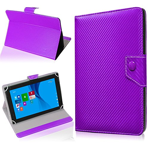 NAUC Tasche Hülle für ODYS Ieos Quad 10 Pro Schutzhülle Tablet Cover Hülle Bag Etui, Modellauswahl:Lila Carbon-Erscheinungsbild Magnetverschluss
