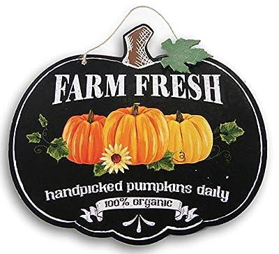 Fantastic Fall Decorative Pumpkin Shaped ''Farm Fresh'' Hanging Sign - 11.5 x 10.5 Inches