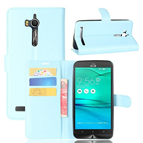 Tasche für Asus ZenFone Go ZB552KL Hülle , Ycloud PU Kunstleder Ledertasche Flip Cover Wallet Hülle Handyhülle mit Stand Function Credit Card Slots Bookstyle Purse Design blau